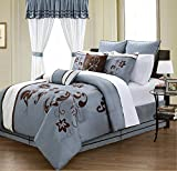 Fancy Collection 24 Pc Comforter set White Blue Brown With curtain And 100% ...